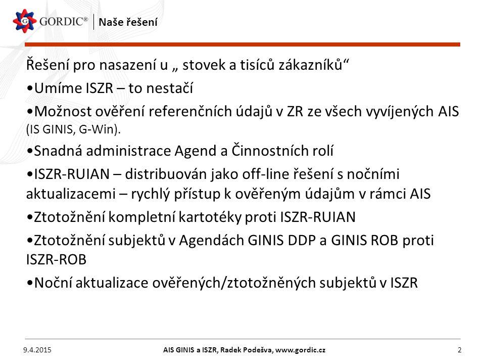 """9.4.2015AIS GINIS a ISZR, Radek Podešva, www.gordic.cz2 Naše řešení Řešení pro nasazení u """" stovek a tisíců zákazníků"""" Umíme ISZR – to nestačí Možnost"""