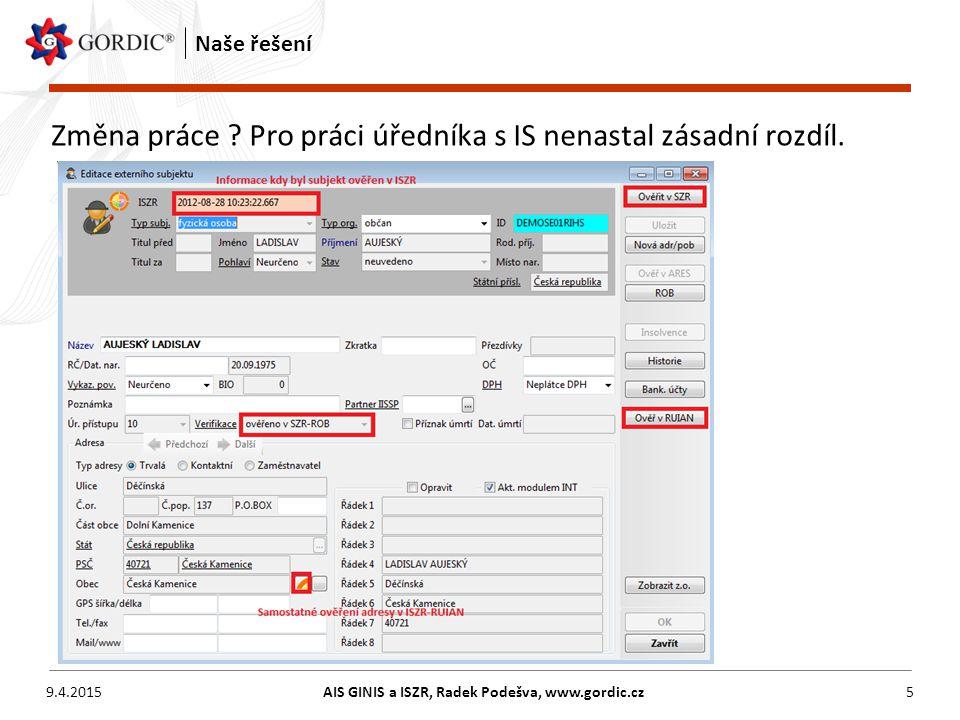 9.4.2015AIS GINIS a ISZR, Radek Podešva, www.gordic.cz5 Naše řešení Změna práce ? Pro práci úředníka s IS nenastal zásadní rozdíl.