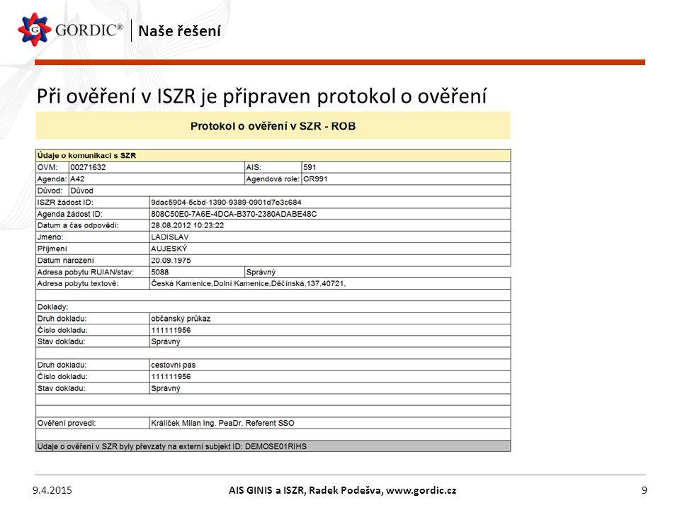 9.4.2015AIS GINIS a ISZR, Radek Podešva, www.gordic.cz9 Naše řešení Při ověření v ISZR je připraven protokol o ověření