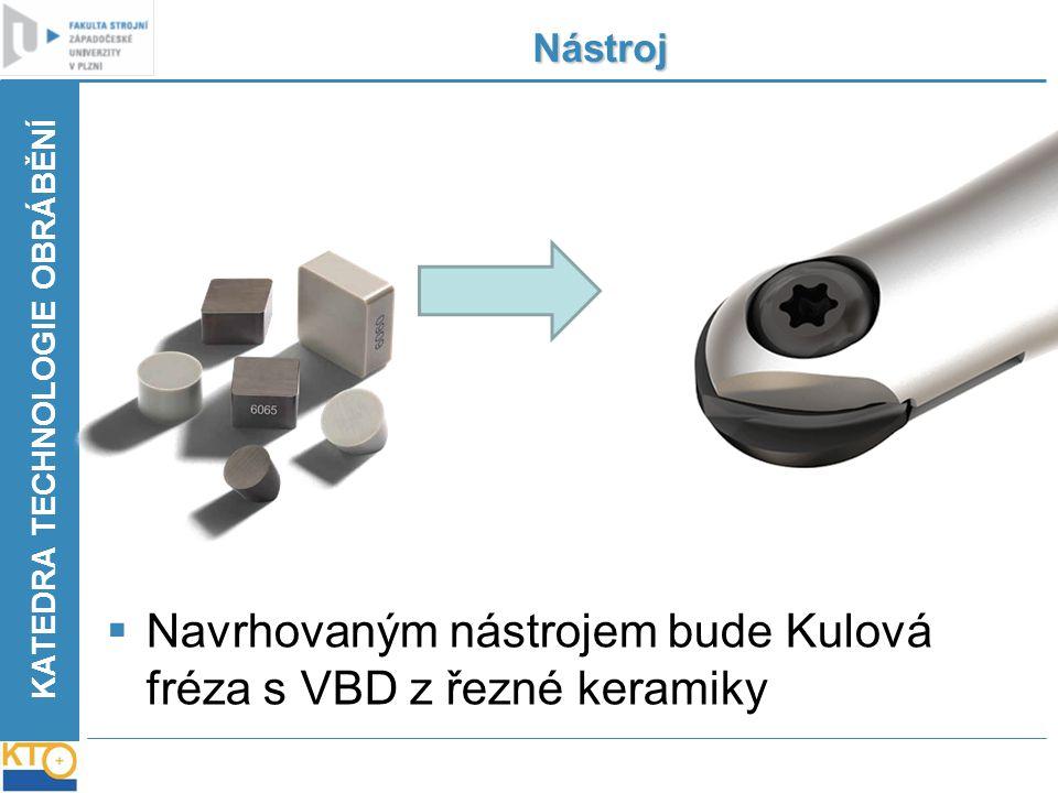 KATEDRA TECHNOLOGIE OBRÁBĚNÍ Nástroj  Navrhovaným nástrojem bude Kulová fréza s VBD z řezné keramiky