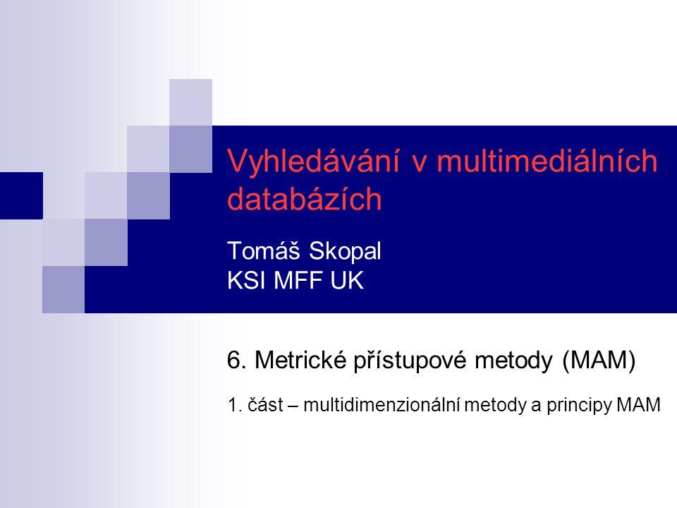 Osnova motivace využití multidimenzionálních metody  přímé použití – indexování vektorových dat a příslušná omezení  nepřímé použití – indexování mapovaných vektorů principy metrických přístupových metod  míry efektivity vyhledávání  reprezentace datového prostoru nadrovinové dělení prostoru hyper-kulové dělení prostoru  vlastnosti metrik užívané k filtrování při dotazech