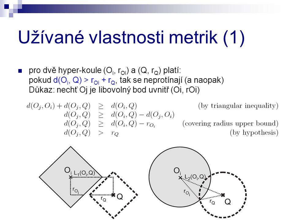Užívané vlastnosti metrik (1) pro dvě hyper-koule (O i, r Oi ) a (Q, r Q ) platí: pokud d(O i, Q) > r Oi + r Q, tak se neprotínají (a naopak) Důkaz: n