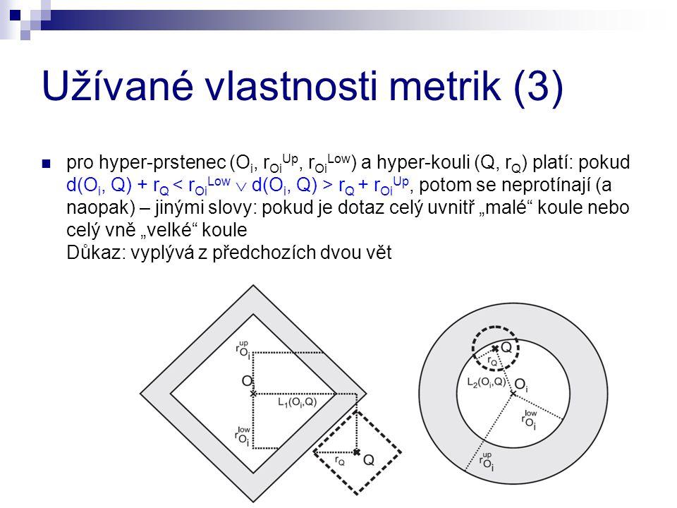 Užívané vlastnosti metrik (3) pro hyper-prstenec (O i, r Oi Up, r Oi Low ) a hyper-kouli (Q, r Q ) platí: pokud d(O i, Q) + r Q r Q + r Oi Up, potom s