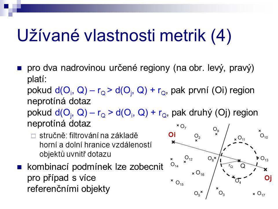 Užívané vlastnosti metrik (4) pro dva nadrovinou určené regiony (na obr. levý, pravý) platí: pokud d(O i, Q) – r Q > d(O j, Q) + r Q, pak první (Oi) r
