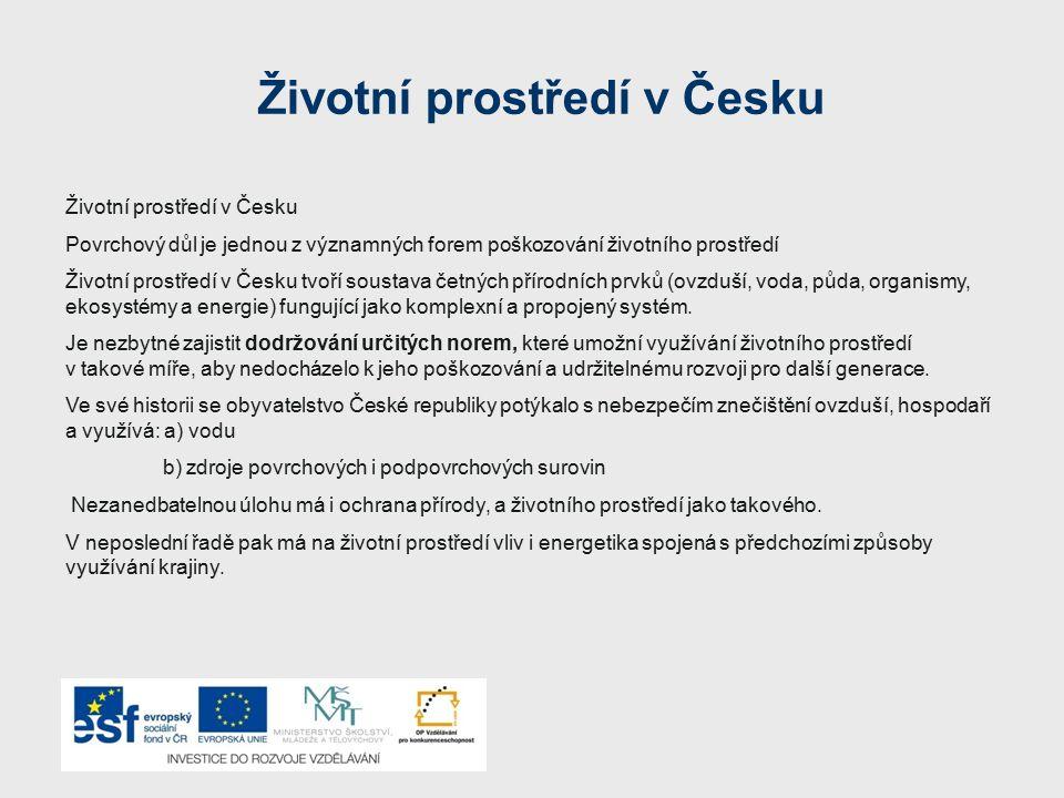 Životní prostředí v Česku Povrchový důl je jednou z významných forem poškozování životního prostředí Životní prostředí v Česku tvoří soustava četných
