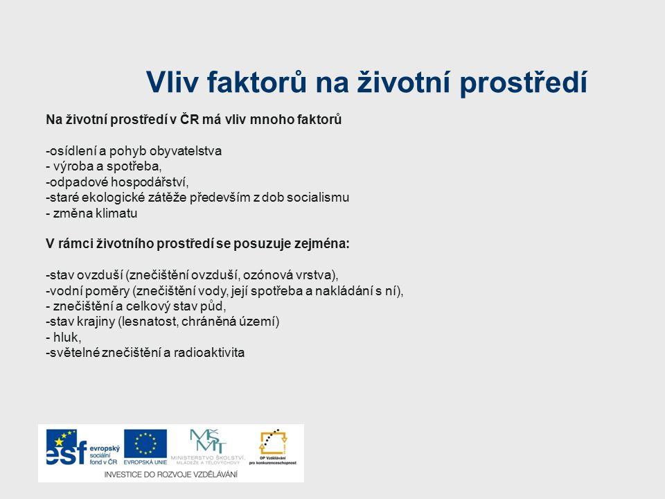 Vliv faktorů na životní prostředí Na životní prostředí v ČR má vliv mnoho faktorů -osídlení a pohyb obyvatelstva - výroba a spotřeba, -odpadové hospod