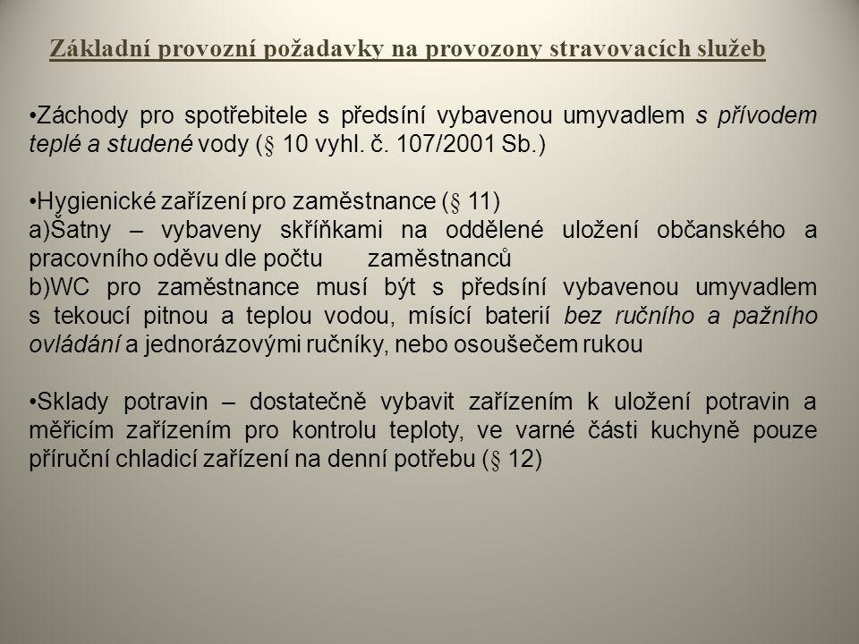 Základní provozní požadavky na provozony stravovacích služeb Záchody pro spotřebitele s předsíní vybavenou umyvadlem s přívodem teplé a studené vody (