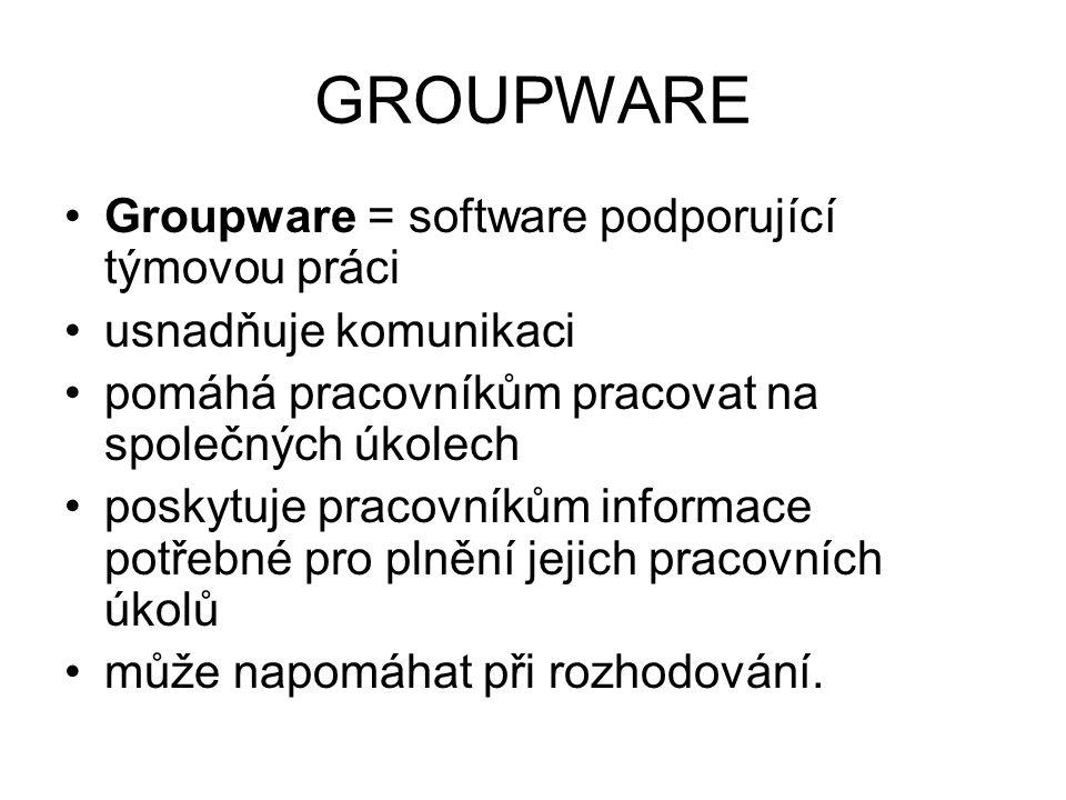 GROUPWARE Groupware = software podporující týmovou práci usnadňuje komunikaci pomáhá pracovníkům pracovat na společných úkolech poskytuje pracovníkům informace potřebné pro plnění jejich pracovních úkolů může napomáhat při rozhodování.