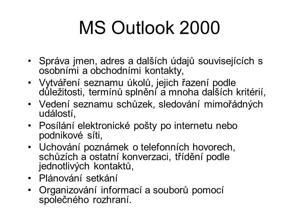 MS Outlook 2000 Správa jmen, adres a dalších údajů souvisejících s osobními a obchodními kontakty, Vytváření seznamu úkolů, jejich řazení podle důležitosti, termínů splnění a mnoha dalších kritérií, Vedení seznamu schůzek, sledování mimořádných událostí, Posílání elektronické pošty po internetu nebo podnikové síti, Uchování poznámek o telefonních hovorech, schůzích a ostatní konverzaci, třídění podle jednotlivých kontaktů, Plánování setkání Organizování informací a souborů pomocí společného rozhraní.