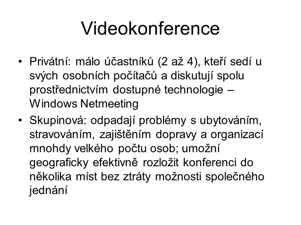 Videokonference Privátní: málo účastníků (2 až 4), kteří sedí u svých osobních počítačů a diskutují spolu prostřednictvím dostupné technologie – Windows Netmeeting Skupinová: odpadají problémy s ubytováním, stravováním, zajištěním dopravy a organizací mnohdy velkého počtu osob; umožní geograficky efektivně rozložit konferenci do několika míst bez ztráty možnosti společného jednání