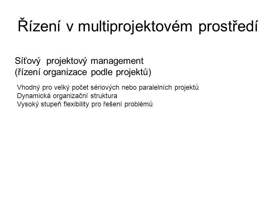 Řízení v multiprojektovém prostředí Síťový projektový management (řízení organizace podle projektů) Vhodný pro velký počet sériových nebo paralelních projektů Dynamická organizační struktura Vysoký stupeň flexibility pro řešení problémů