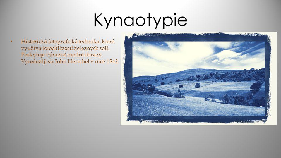 Kynaotypie Historická fotografická technika, která využívá fotocitlivosti železných solí. Poskytuje výrazně modré obrazy. Vynalezl ji sir John Hersche