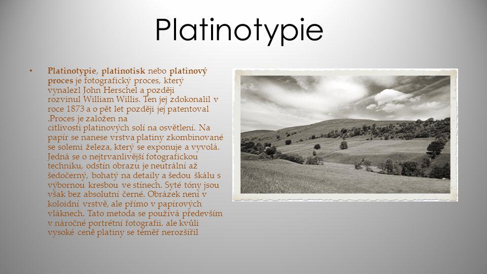 Platinotypie Platinotypie, platinotisk nebo platinový proces je fotografický proces, který vynalezl John Herschel a později rozvinul William Willis. T