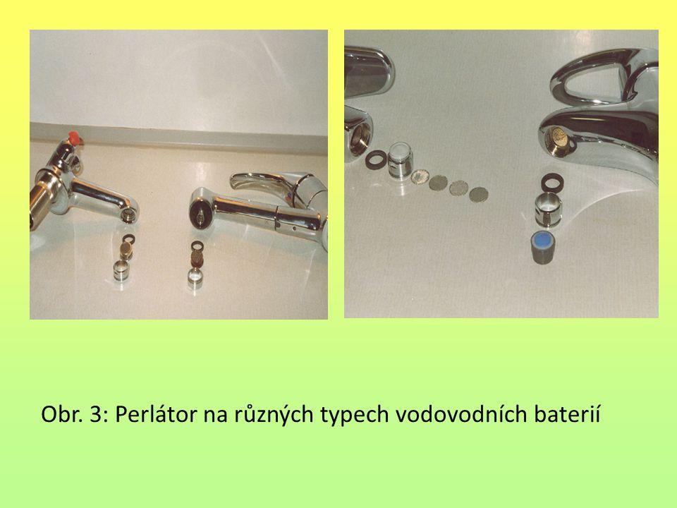 Obr. 3: Perlátor na různých typech vodovodních baterií