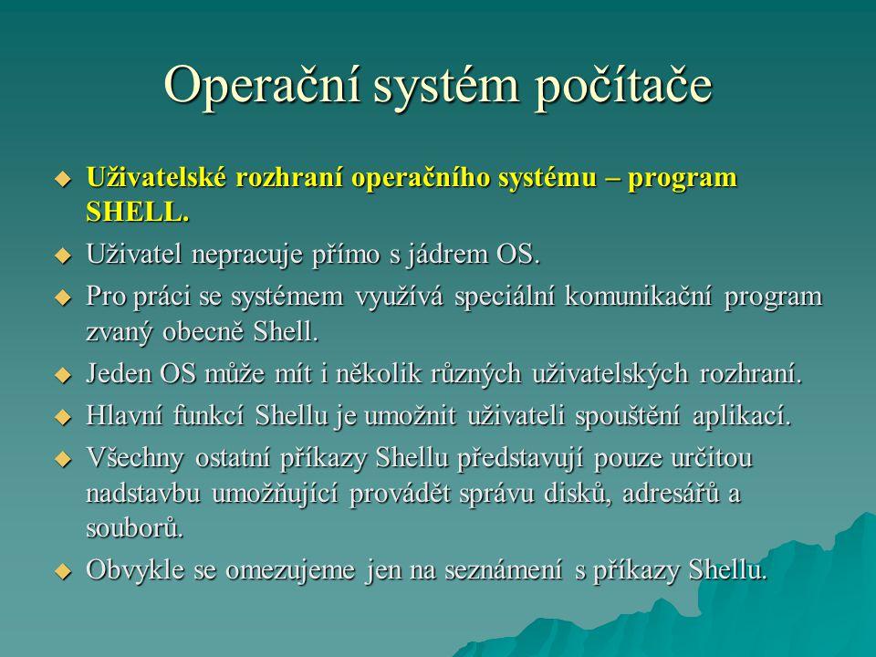 Operační systém počítače  Uživatelské rozhraní operačního systému – program SHELL.  Uživatel nepracuje přímo s jádrem OS.  Pro práci se systémem vy