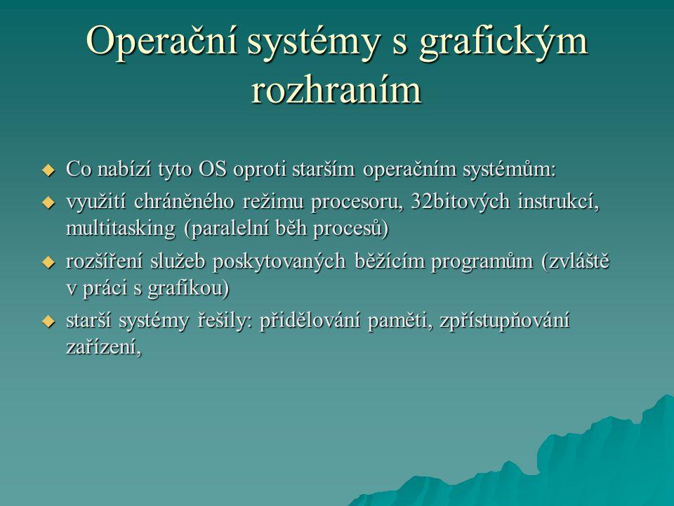 Operační systémy s grafickým rozhraním  Co nabízí tyto OS oproti starším operačním systémům:  využití chráněného režimu procesoru, 32bitových instru