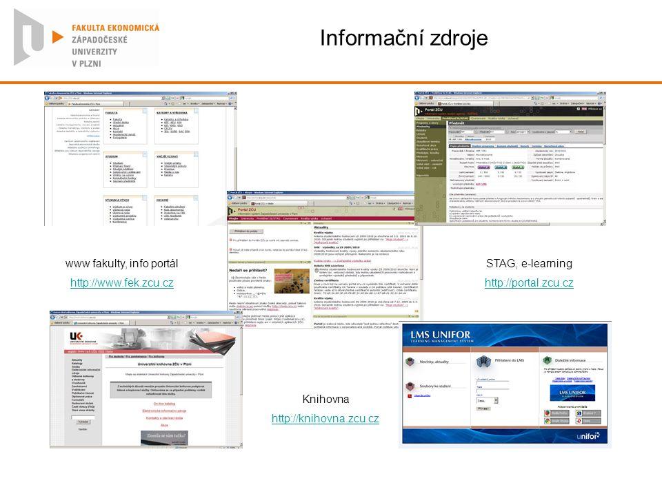 Informační zdroje www fakulty, info portál http://www.fek.zcu.cz STAG, e-learning http://portal.zcu.cz Knihovna http://knihovna.zcu.cz