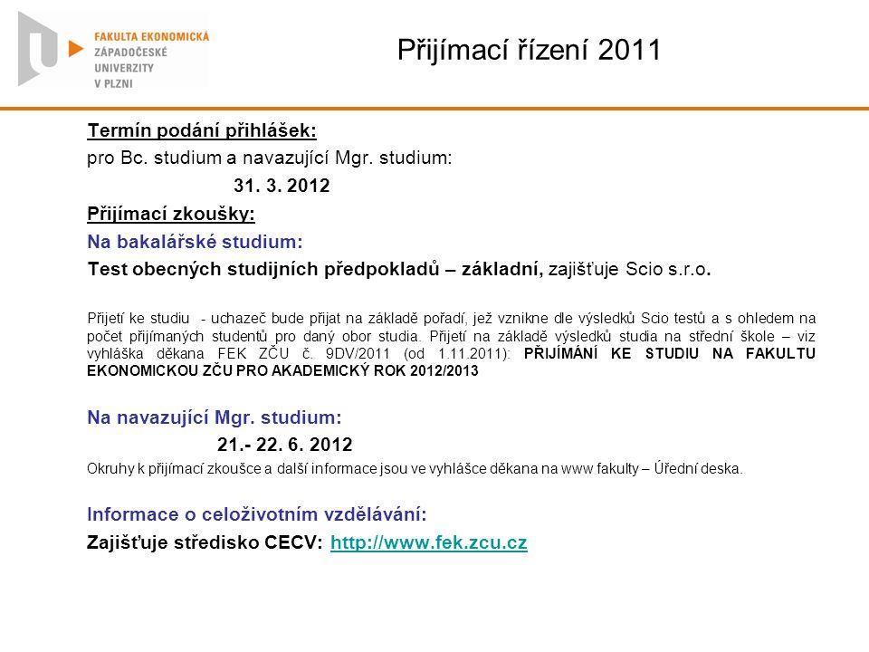 Přijímací řízení 2011 Termín podání přihlášek: pro Bc. studium a navazující Mgr. studium: 31. 3. 2012 Přijímací zkoušky: Na bakalářské studium: Test o