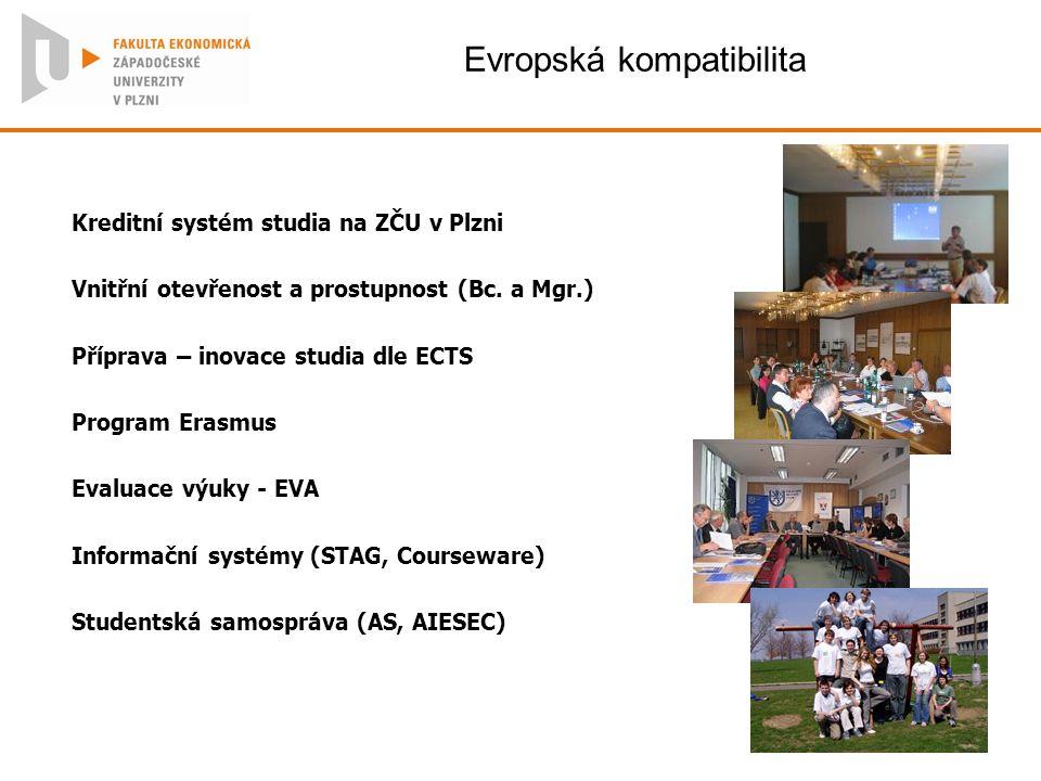 Evropská kompatibilita Kreditní systém studia na ZČU v Plzni Vnitřní otevřenost a prostupnost (Bc. a Mgr.) Příprava – inovace studia dle ECTS Program