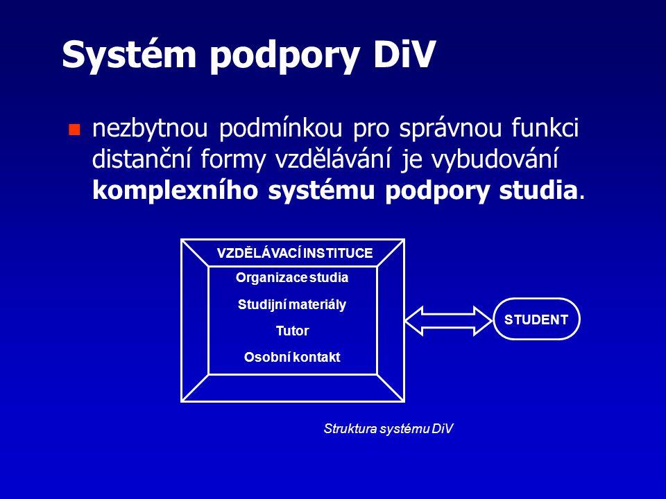 Systém podpory DiV nezbytnou podmínkou pro správnou funkci distanční formy vzdělávání je vybudování komplexního systému podpory studia. Organizace stu