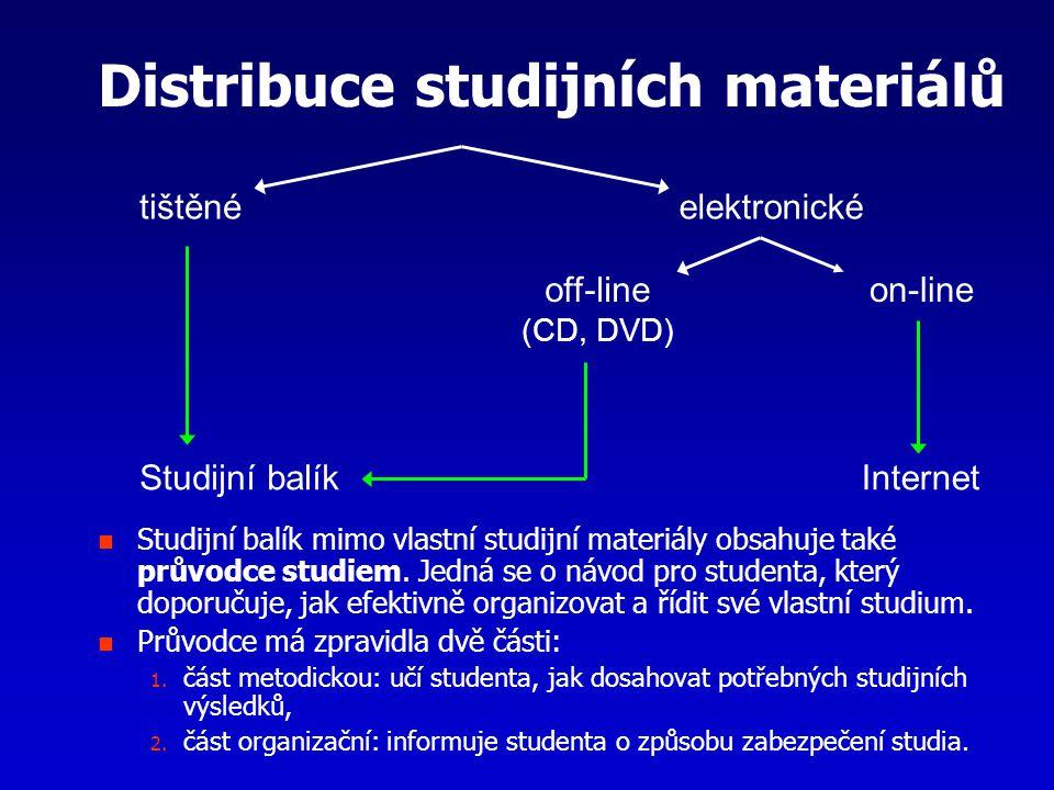 Distribuce studijních materiálů Studijní balík mimo vlastní studijní materiály obsahuje také průvodce studiem. Jedná se o návod pro studenta, který do