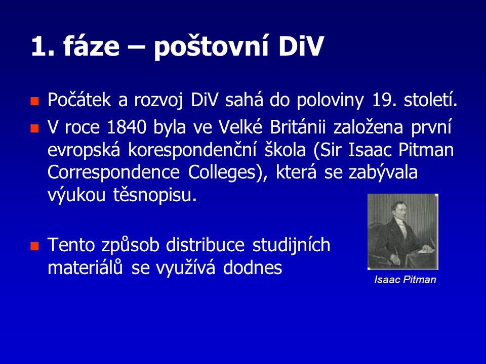 1. fáze – poštovní DiV Počátek a rozvoj DiV sahá do poloviny 19. století. V roce 1840 byla ve Velké Británii založena první evropská korespondenční šk