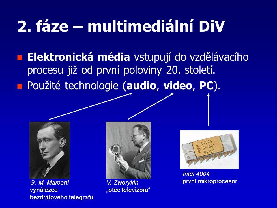 2. fáze – multimediální DiV Elektronická média vstupují do vzdělávacího procesu již od první poloviny 20. století. Použité technologie (audio, video,