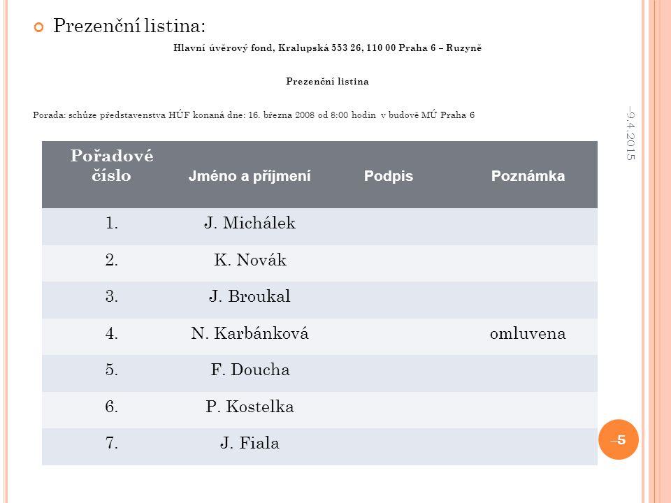 Prezenční listina: Hlavní úvěrový fond, Kralupská 553 26, 110 00 Praha 6 – Ruzyně Prezenční listina Porada: schůze představenstva HÚF konaná dne: 16.