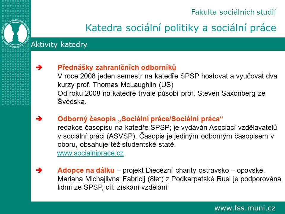 www.fss.muni.cz Aktivity katedry  Přednášky zahraničních odborníků V roce 2008 jeden semestr na katedře SPSP hostovat a vyučovat dva kurzy prof.