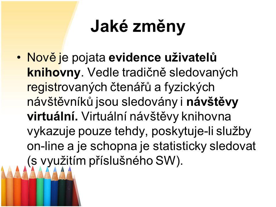 Jaké změny Nově je pojata evidence uživatelů knihovny.