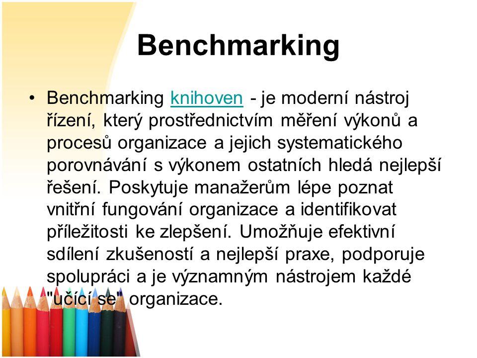 Benchmarking Benchmarking knihoven - je moderní nástroj řízení, který prostřednictvím měření výkonů a procesů organizace a jejich systematického porovnávání s výkonem ostatních hledá nejlepší řešení.