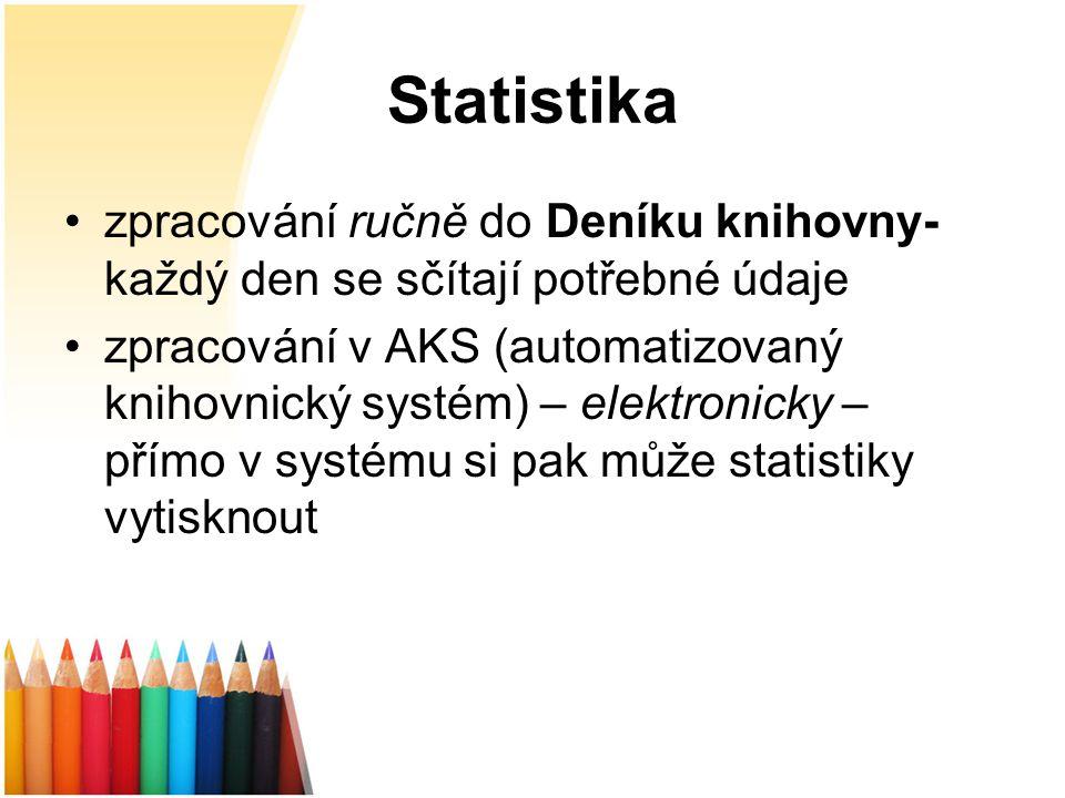 Statistika zpracování ručně do Deníku knihovny- každý den se sčítají potřebné údaje zpracování v AKS (automatizovaný knihovnický systém) – elektronicky – přímo v systému si pak může statistiky vytisknout