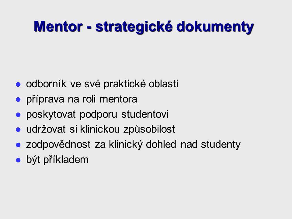 odborník ve své praktické oblasti příprava na roli mentora poskytovat podporu studentovi udržovat si klinickou způsobilost zodpovědnost za klinický dohled nad studenty být příkladem Mentor - strategické dokumenty