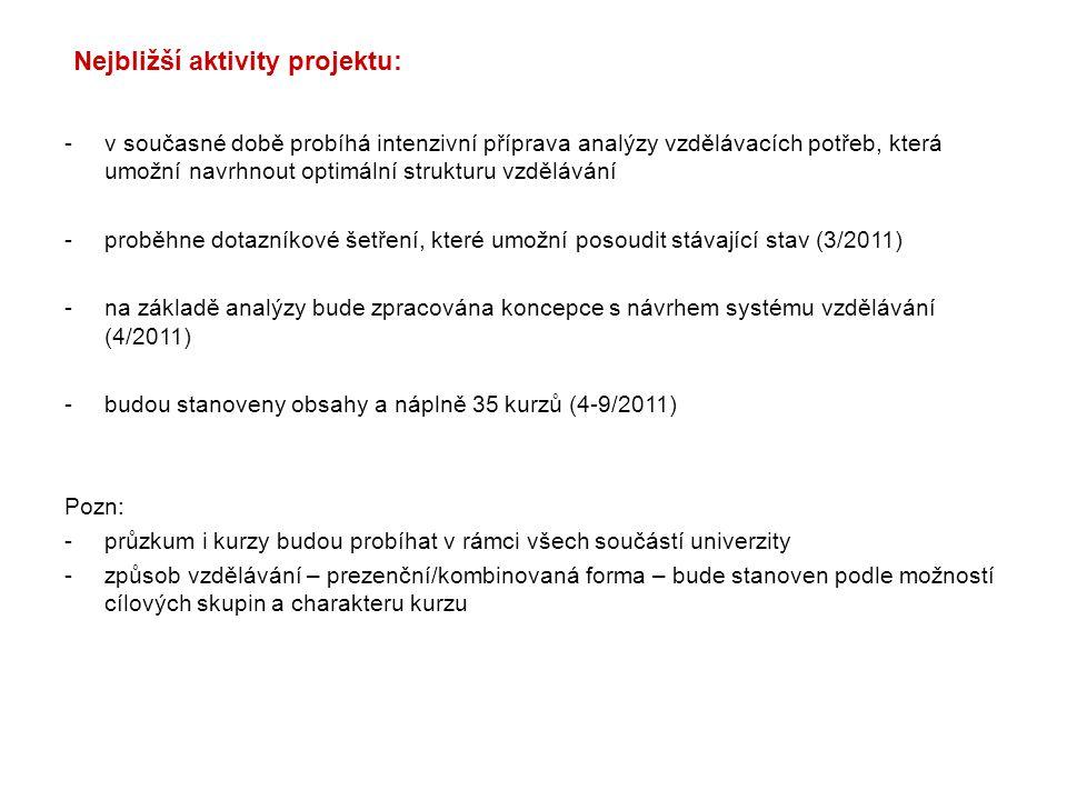 Nejbližší aktivity projektu: -v současné době probíhá intenzivní příprava analýzy vzdělávacích potřeb, která umožní navrhnout optimální strukturu vzdělávání -proběhne dotazníkové šetření, které umožní posoudit stávající stav (3/2011) -na základě analýzy bude zpracována koncepce s návrhem systému vzdělávání (4/2011) -budou stanoveny obsahy a náplně 35 kurzů (4-9/2011) Pozn: -průzkum i kurzy budou probíhat v rámci všech součástí univerzity -způsob vzdělávání – prezenční/kombinovaná forma – bude stanoven podle možností cílových skupin a charakteru kurzu