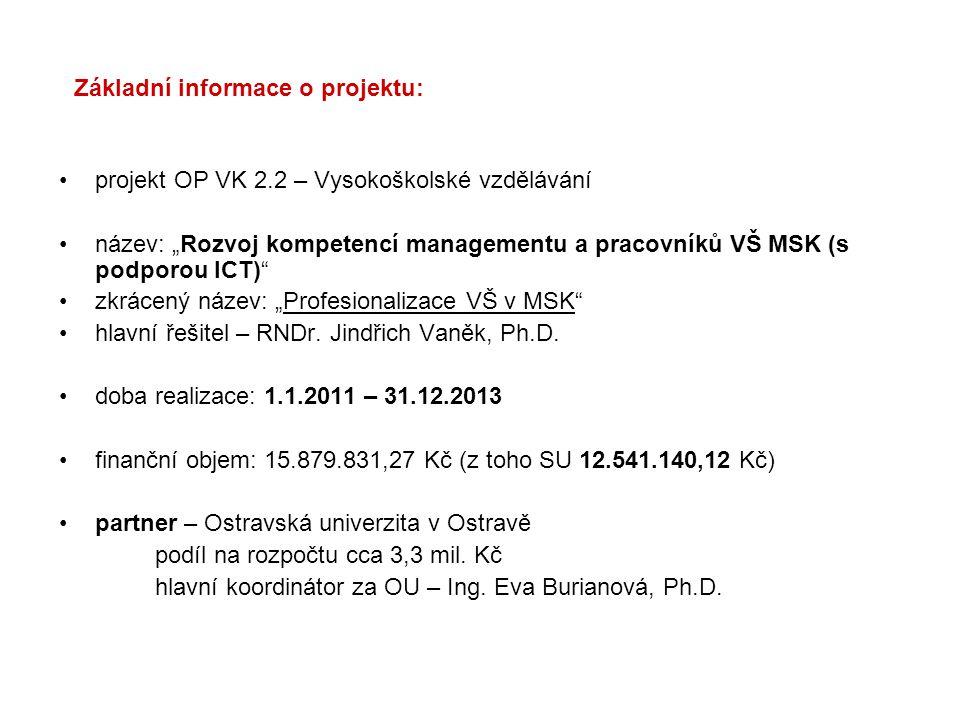 """Základní informace o projektu: projekt OP VK 2.2 – Vysokoškolské vzdělávání název: """"Rozvoj kompetencí managementu a pracovníků VŠ MSK (s podporou ICT)"""