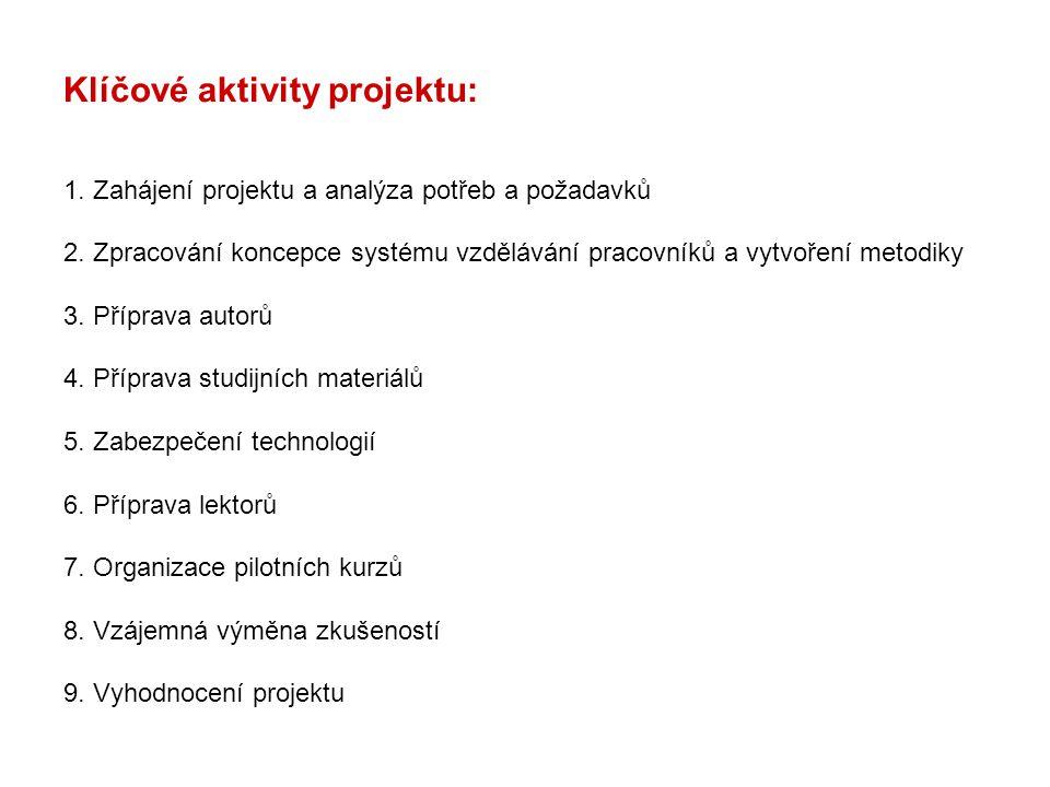Klíčové aktivity projektu: 1. Zahájení projektu a analýza potřeb a požadavků 2. Zpracování koncepce systému vzdělávání pracovníků a vytvoření metodiky