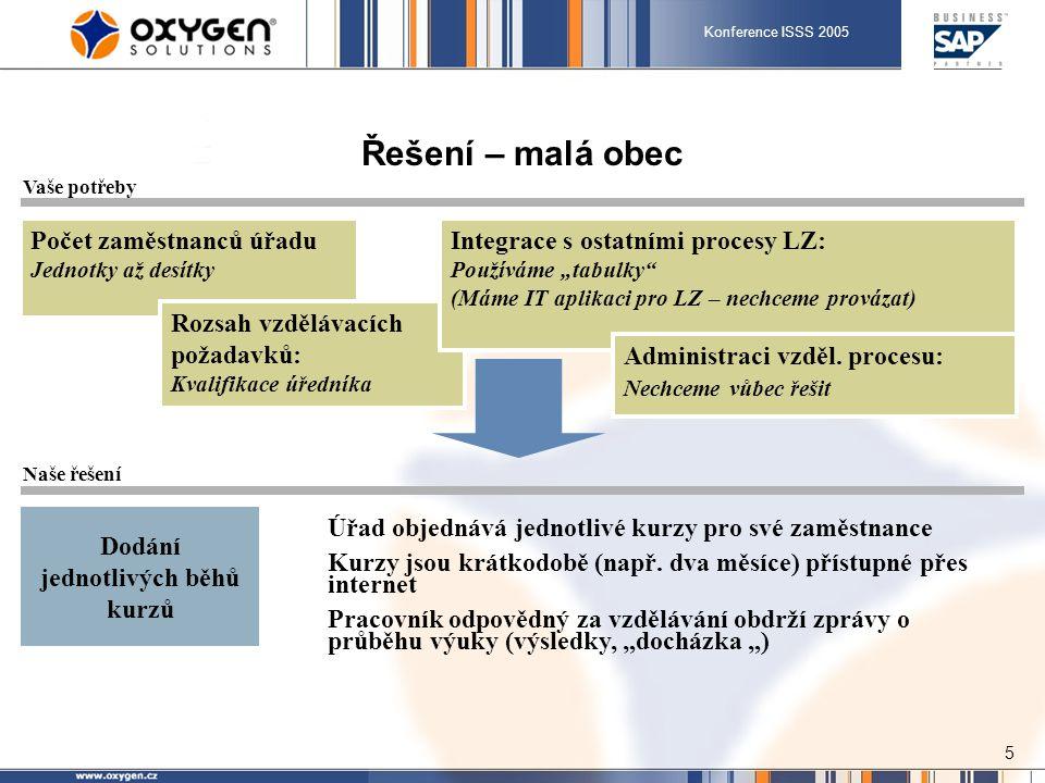Konference ISSS 2005 6 Řešení – středně velký městský úřad Počet zaměstnanců úřadu Desítky až stovky Rozsah vzdělávacích požadavků: Kvalifikace úředníka I jiné kurzy (IT, jazyky) Integrace s ostatními procesy LZ: Máme IT aplikaci pro LZ – nechceme provázat (Máme IT aplikaci pro LZ – chceme provázat) Administraci vzděl.