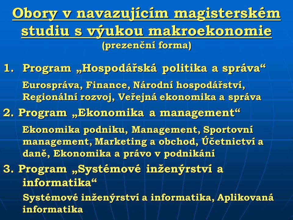 Počet studentů programu Hospodářská politika a správa (prezenční studium, 2008/2009) Obory 1.