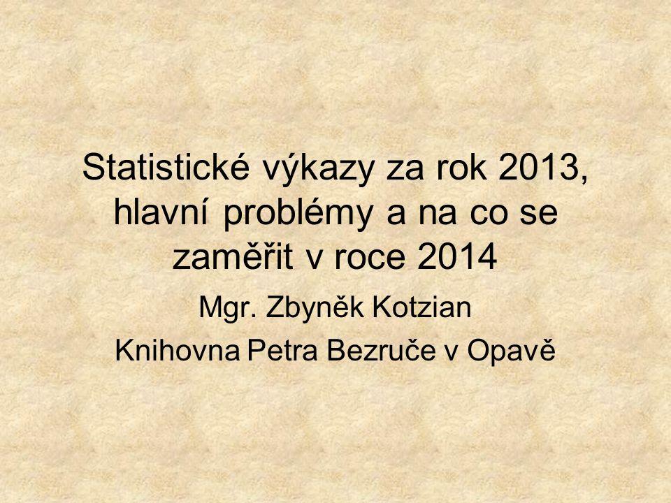 Statistické výkazy za rok 2013, hlavní problémy a na co se zaměřit v roce 2014 Mgr. Zbyněk Kotzian Knihovna Petra Bezruče v Opavě