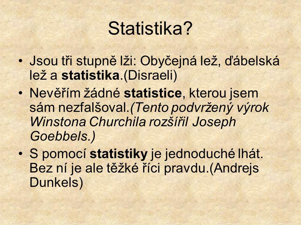 Statistika? Jsou tři stupně lži: Obyčejná lež, ďábelská lež a statistika.(Disraeli) Nevěřím žádné statistice, kterou jsem sám nezfalšoval.(Tento podvr