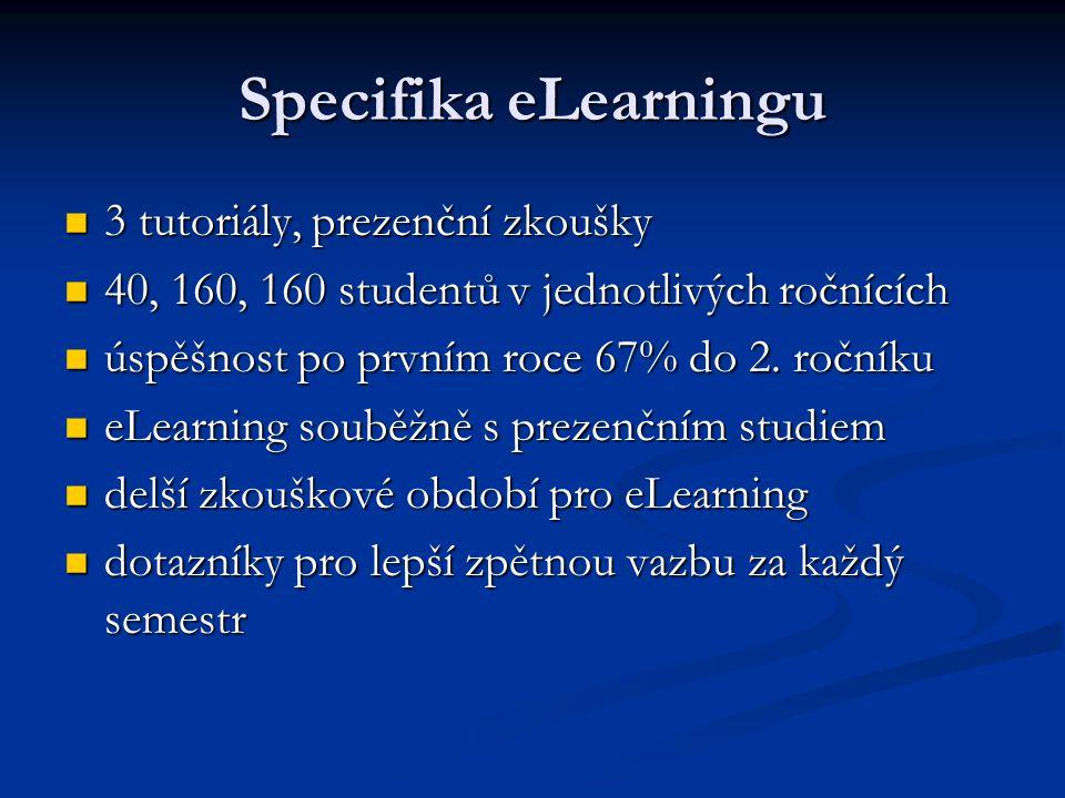 Specifika eLearningu 3 tutoriály, prezenční zkoušky 3 tutoriály, prezenční zkoušky 40, 160, 160 studentů v jednotlivých ročnících 40, 160, 160 student