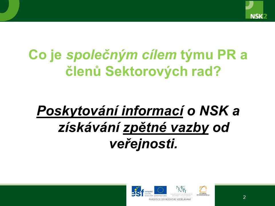 Co je společným cílem týmu PR a členů Sektorových rad? Poskytování informací o NSK a získávání zpětné vazby od veřejnosti. 2