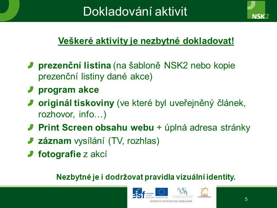 Dokladování aktivit Veškeré aktivity je nezbytné dokladovat! prezenční listina (na šabloně NSK2 nebo kopie prezenční listiny dané akce) program akce o