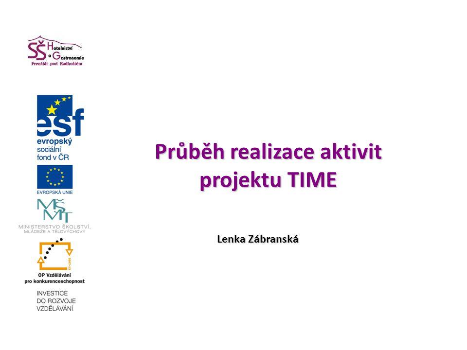 Průběh realizace aktivit projektu TIME Průběh realizace aktivit projektu TIME Lenka Zábranská