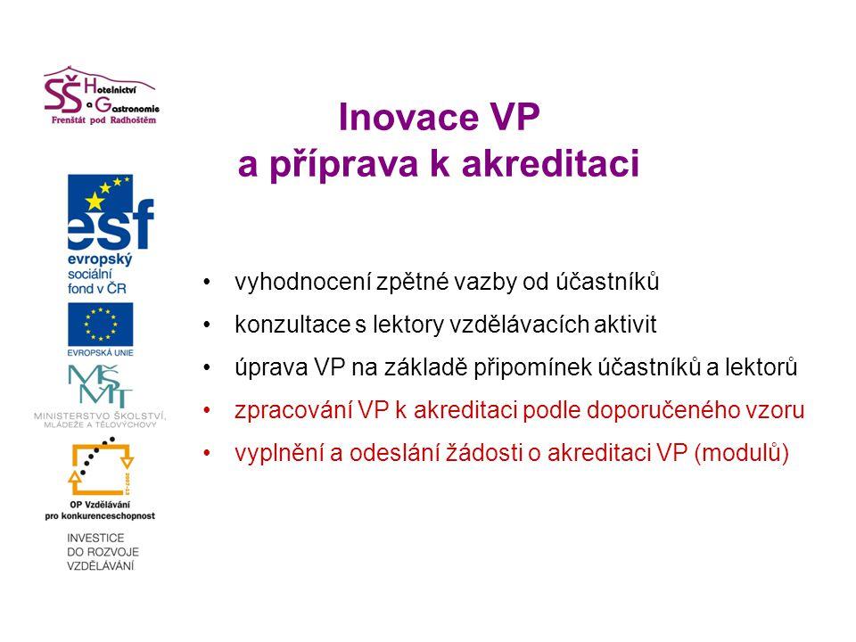 Inovace VP a příprava k akreditaci vyhodnocení zpětné vazby od účastníků konzultace s lektory vzdělávacích aktivit úprava VP na základě připomínek účastníků a lektorů zpracování VP k akreditaci podle doporučeného vzoru vyplnění a odeslání žádosti o akreditaci VP (modulů)