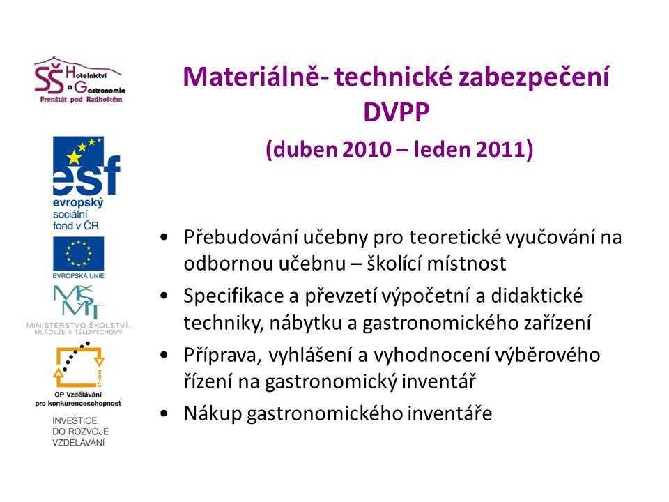Materiálně- technické zabezpečení DVPP (duben 2010 – leden 2011 ) Přebudování učebny pro teoretické vyučování na odbornou učebnu – školící místnost Specifikace a převzetí výpočetní a didaktické techniky, nábytku a gastronomického zařízení Příprava, vyhlášení a vyhodnocení výběrového řízení na gastronomický inventář Nákup gastronomického inventáře