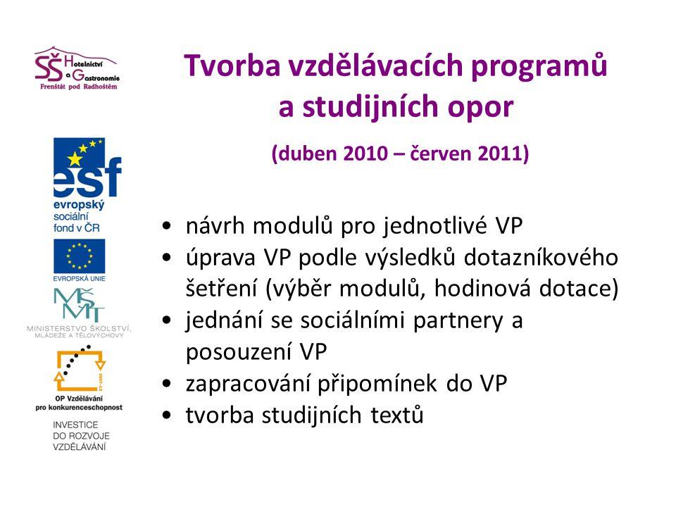 Tvorba vzdělávacích programů a studijních opor (duben 2010 – červen 2011) návrh modulů pro jednotlivé VP úprava VP podle výsledků dotazníkového šetřen