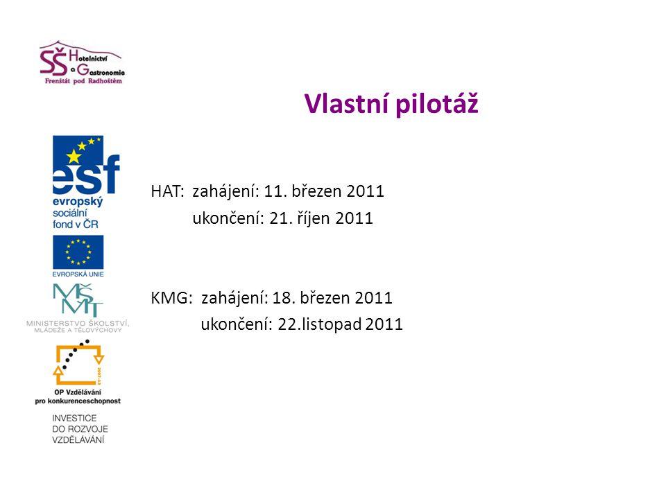 Vlastní pilotáž HAT: zahájení: 11. březen 2011 ukončení: 21. říjen 2011 KMG: zahájení: 18. březen 2011 ukončení: 22.listopad 2011