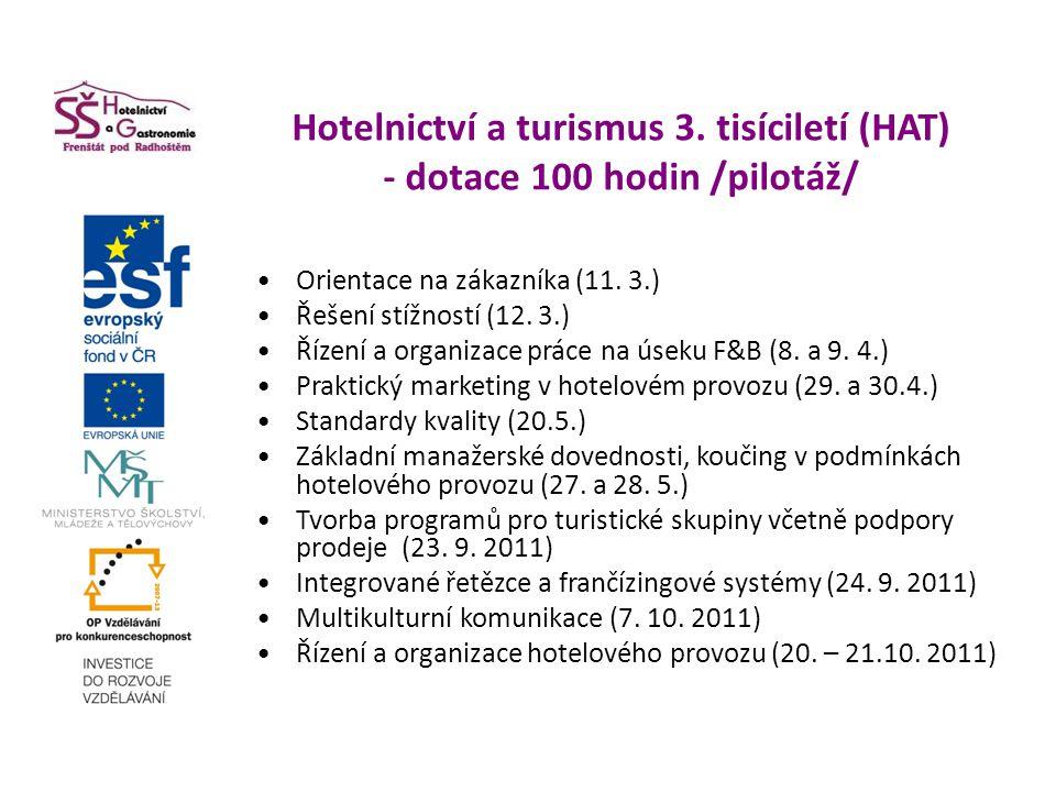 Hotelnictví a turismus 3. tisíciletí (HAT) - dotace 100 hodin /pilotáž/ Orientace na zákazníka (11. 3.) Řešení stížností (12. 3.) Řízení a organizace