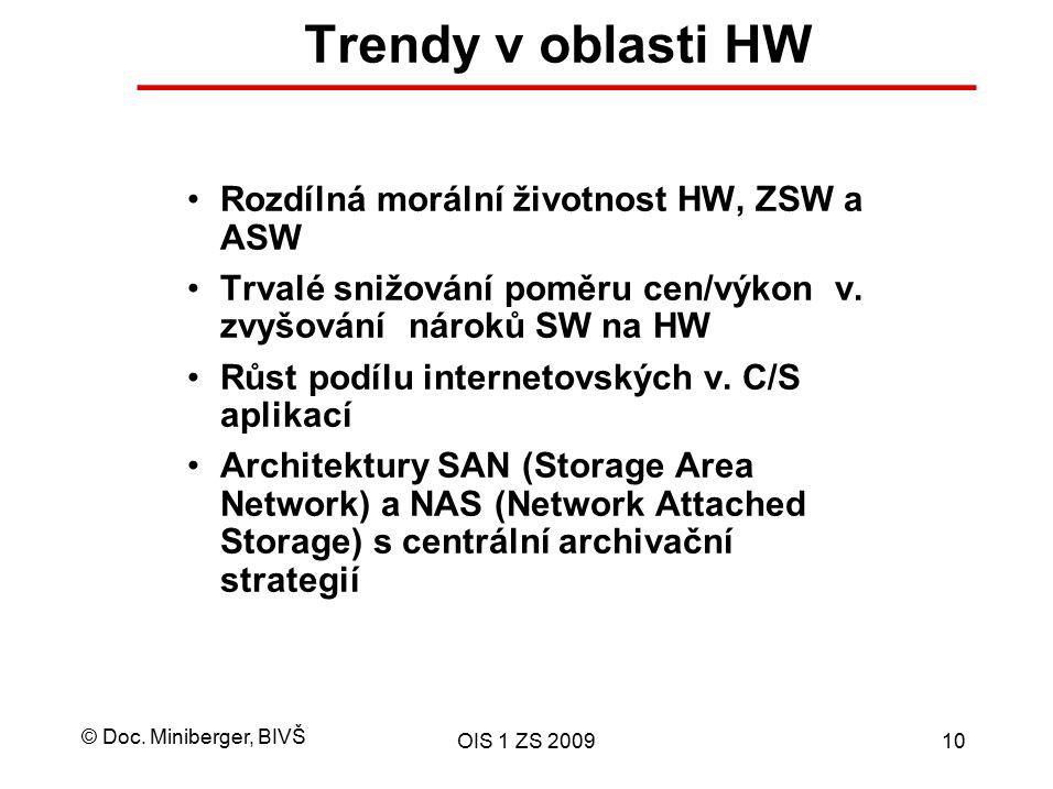 © Doc. Miniberger, BIVŠ OIS 1 ZS 200910 Trendy v oblasti HW Rozdílná morální životnost HW, ZSW a ASW Trvalé snižování poměru cen/výkon v. zvyšování ná